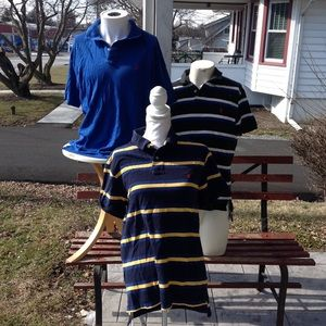 Three men's polo shirts.